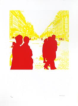 Sérigraphie originale signée de  : Boulevard des Italiens : Rien