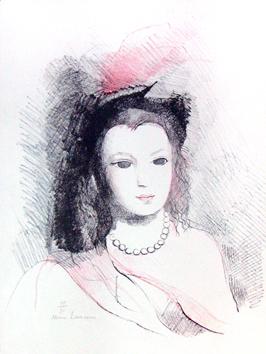 Laurencin Marie : Lithographie originale signée : Jeune femme aux perles