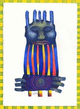 Acrylique sur papier signée de  : Totem