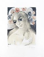 Lithographie originale signée de  : Chapeau fleuri I