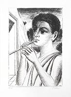 Lithographie originale signée de  : Le joueur de flûte