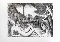 Lithographie originale signée de  : La locomobile