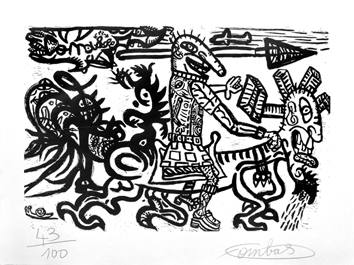 Original signed woodcut de Combas Robert : Un type avec . . .
