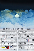 Original signed lithograph de  : Partition of facetious music and sky II
