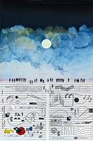 Signierte Originallithographie de  : Musikpartitur und Himmel II