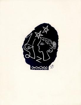 Braque Georges : Gravure d'interprétation : Tête grecque