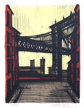 Original signed lithograph de  : Brooklyn Bridge
