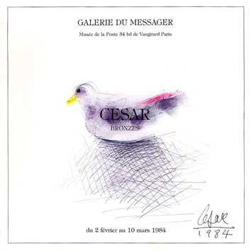 Original signed drawing de César Baldaccini : Bird