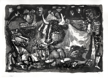 Lithograph signed de  : The death of the Bullfighter