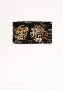 Signed lithograph de  : Two heads