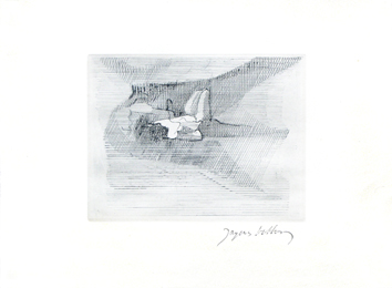 Signed etching de  : Reclining figure