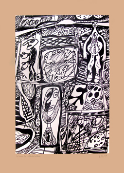 Original signed screenprint de Dubuffet Jean : Scénario bref