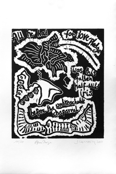Signed woodcut de Scanreigh Jean-Marc : All he had