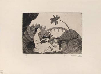 Laurencin Marie : Gravure originale sign�e : Le Pont de Passy