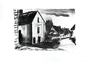 Original signed lithograph de Vlaminck Maurice : Rustic houses in Valmondois II