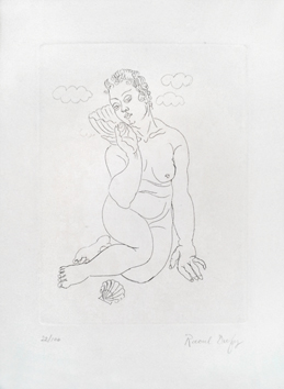 Original signed etching de  : Little swimmer with shells