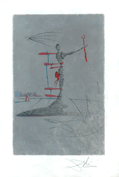 Lithograph signed de  : Woman with crutch