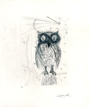 Original signed etching de  : The blue owl