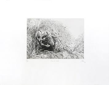Gravure originale signée de Abé Akira : Rose en sablé