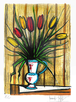 Original signed lithograph de  : Tulips