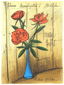 Original lithograph poster de  : Three roses in a vase