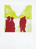 Signierte Originalserigraphie de  : Boulevard des Italiens : Rien II