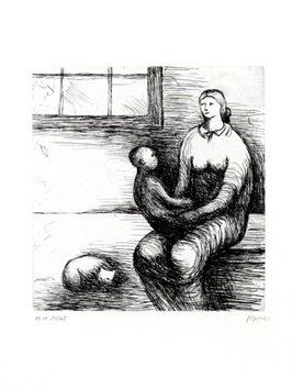 Moore Henry : Gravure originale signée : Mother and child IX