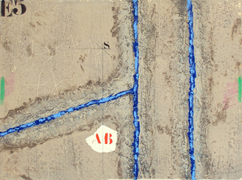 Original signed etching de  : Double verticalité bleue