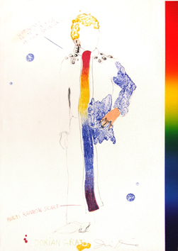 Litografia originale firmata de Dine Jim : Dorian Gray with rainbow scarf