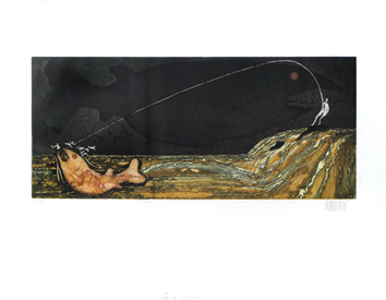 Original signed etching de  : At the end of the fishing line