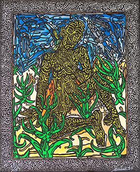 Lithographie originale signée de  : L'homme jaune