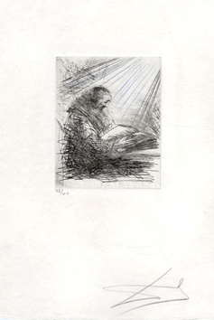 Original signed etching de  : Faust reading