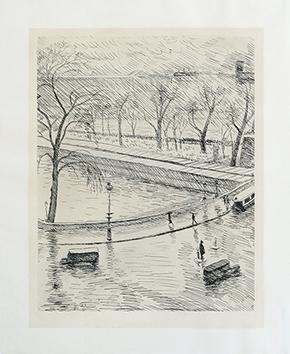 Gravure originale signée de  : Paris le Pont Neuf