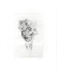 Bellmer Hans : Original signed etching : Rose ou verte est la nuit