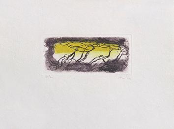 Gravure originale signée de  : Paysage jaune et violet
