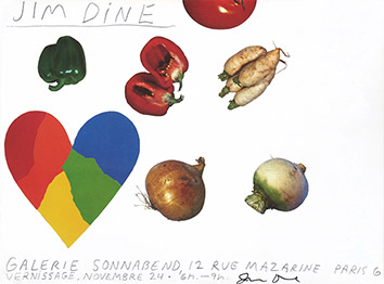Signiertes Originalplakat de Dine Jim : Heart and vegetables