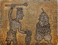 Signiertes originales Graphik de  : Tête de poire et artiste givré II