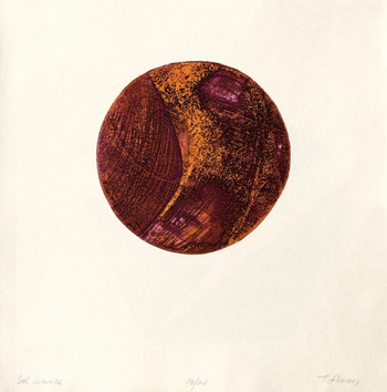 Original signed etching de Haass Terry : Sol lunaire