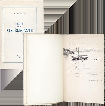 Livre avec dessin original de  : Voilier au mouillage