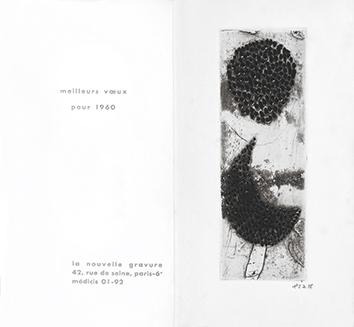 Gravure originale signée de  : Meilleurs voeux pour 1960
