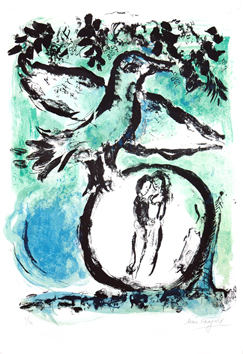 Original signed lithograph de  : The green bird