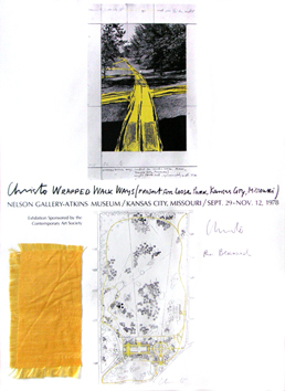 Lithographie signée de Christo : Wrapped Walk Ways, Kansas city