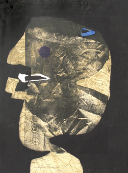 Signed etching de  : The man with pipe