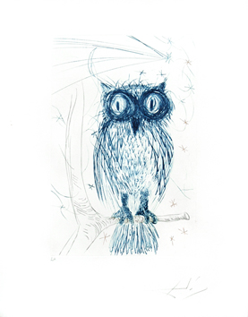 Etching signed de  : The blue owl