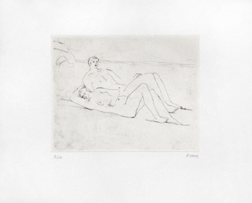 Gravure eau-forte originale de  : Reclining figures on beach