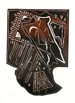 Original signed linocut de  : In front of windows