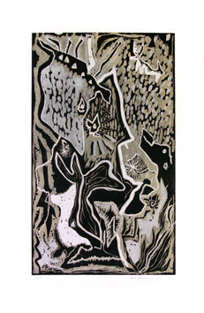 Original signed linocut de  : The most varied keys