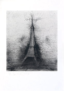 Signed etching drypoint de  : Retroussage Eiffel Tower