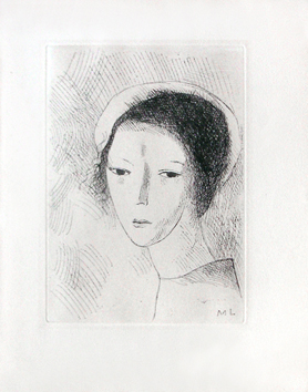 Original etching de  : Girl's head