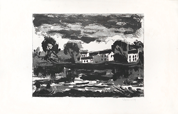 Original signed aquatint de Vlaminck Maurice : L'Oise à Sergy, 2nd state